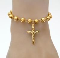 Wholesale catholic bracelets cross - DJ west Stainless Steel Rosary Bracelet New men Bead Bracelet With Cross Jesus Pendant Religious Catholic Bracelets
