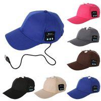 musica deportes mp3 al por mayor-Hombres Mujeres Wireless Sport Bluetooth Music Hat Cap Altavoz Auriculares Auriculares Auriculares Mic E248