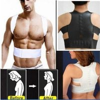 Wholesale back corrector men - Fashion Magnetic Therapy Posture Corrector Body Shaper Back Pain Belt Brace Shoulder Support Belt