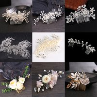 Wholesale bridal jewelry head pieces resale online - Trendy Crystal Pearl Hair Combs Wedding Bridal Hair Jewelry Ornament Head Piece Decoration Rhinestone Bride Hair Comb