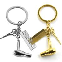 tasche goldene platte großhandel-Scheren Kamm Haartrockner Keychain Haarschnitt Schlüsselanhänger Charme Silber vergoldet Schlüsselanhänger Tasche hängt Modeschmuck