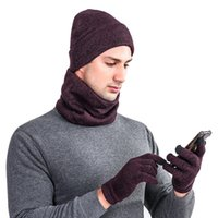 ingrosso pezzo del cappello del crochet-Uomo Donna Caldo Crochet Inverno Lana Knit Guanti Bib And Hat Suit tre pezzi # 4O03