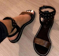Wholesale perfect heels - Newest Luxury Brand Women Print Leather Sandal Striking Gladiator Style Designer Leather Outsole Perfect Flat Canvas Plain Sandal Size35-42