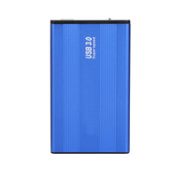 mavi hdd toptan satış-Yüksek Hızlı USB 3.0 HDD Sabit Disk Harici Muhafaza Alüminyum Alaşım 2.5 Inç SATA HDD Sabit Disk Sürücüsü Vaka Mavi Kutu