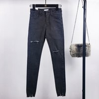 jeans ajustados desgastados al por mayor-Moda de verano de cintura alta Skinny Jeans Pantalones lápiz femenino Boyfriend Hole Ripped Jeans Cool Denim Mujer Jeans Venta caliente