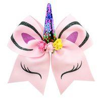 haar fliegehalter großhandel-Einhorn Form Cheer Hair Bows große bunte Pferdeschwanz Inhaber elastische Haargummis für Mädchen und Frauen