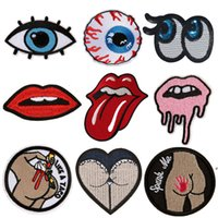 Wholesale eye jeans - Embroidered Patches Red Tongue Mouth Eyes Butt Sewing Iron On Creative Badge For Bag Jeans Hat Appliques DIY Handwork Sticker Decoration
