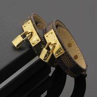 Wholesale locked bracelet - genuine leather bracelets with gold Lock accessories design for women 316L Titanium steel flower pattern bracelet brand same fashion jewelry