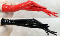 Wholesale gloves cat cosplay online - Party Fetish Gloves Black Red PVC Leather Finger Long Gloves Fetish Elbow Length Nigh Cat Women Cosplay Gloves