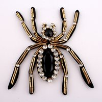 Wholesale handmade stick decorations resale online - 1PC CM CM Handmade Stick Insect Rhinestone Applique Patch For Clothing Decoration Sew on Beaded D Spider Patches For Apparel