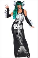 heißes blaues panty großhandel-Halloween Frauen Meerjungfrau Schädel Design Kleider Sexy Kostüme 3 stücke Bühnenkleidung Urlaub Kleidung Bekleidung
