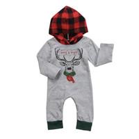 ingrosso pulcini carini lunghi-Toddler Baby Boy Girl con cappuccio Pagliaccetto Tuta Manica lunga Cute Deer Pagliaccetti caldi Vestiti per neonati