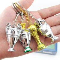 Wholesale anti ring - 2018 Russia FIFA World Cup Keychain Trophy Shape Resin Key Buckle Anti Wear Mini Keys Ring Glod Silver CCA9711 100pcs