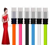 noodle usb телефонный шнур оптовых-3FT Металлическая плоская лапша Micro Type c USB-кабель 2A Синхронизация данных Зарядный адаптер Кабели для Samsung S6 S7 Edge S8 Примечание 8 HTC Android телефон