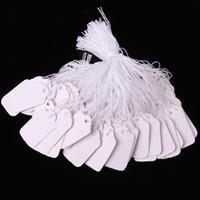 tags pendurar jóias venda por atacado-0.5 * 1 polegada 100 pçs / lote em branco Branco Etiquetas de Preços Marcação de Etiquetas de Jóias Roupas Etiquetas de Produtos de produtos Mostrar Tags com Corda de Suspensão 1.2 * 2.5 cm