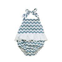 Wholesale America Swimwear - Children Europe and America summer girls bathing suit children swimwear sleeveless bind stripe conjoined