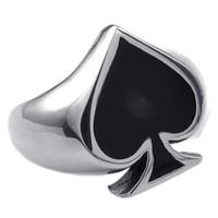 amuletos de buena suerte para las mujeres al por mayor-Classic Poker Spades Gambler Good Luck Finger Ring Mens Poker Spades Silver Anillos de acero inoxidable Charm For Men Women
