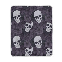 Wholesale blankets for king beds - Home Decor Purple Flower Sugar Skull Soft Warm Blanket for Bed Couch Sofa Lightweight Travelling Camping 60 x 50 Inch Throw Size