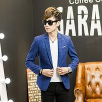 terno animal coreano venda por atacado-2016 Nova Coreano Moda Mens Slim fit Blazer casaco paletó Masculino casual único blaser masculino M a 3XL xadrez vermelho azul verde