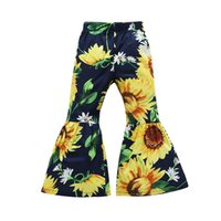 Wholesale light cherry color for sale - Group buy Kids sunflower Cherry print pants Autumn Fashion children Flare pants baby girls Floral casual Trousers colors C5286