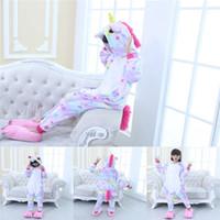 pijamas niños estrella al por mayor-Nueva Flannel Star Fish Scale Tianma pijamas siameses de dibujos animados de manga larga con capucha Unicornio traje de los niños del bebé niños ropa
