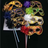 venedik maskeleri sopalarla toptan satış-20 adet Venedik Yarım yüz çiçek maske Masquerade Partisi çubuk üzerinde Maske Seksi Cadılar Bayramı noel dans düğün Parti Maskesi malzemeleri