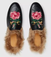 Wholesale loafer moccasin flat shoes online - Designer Shoes Winter Fur Slippers Princetown Women Driving Loafers Genuine Leather Fashion Moccasins Embroidery Luxury Brand Mules