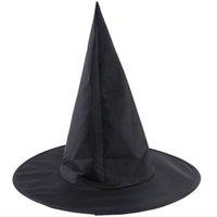 ingrosso cappello nero magico-New Black Halloween Wizard Cappelli Oxford Cloth Magic Witch Pointed Hat Bambini adulti Halloween Decorazione Party Cappelli