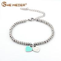 braclet perles charmes achat en gros de-SHE WEIER coeur braclet bracelets perles femme cadeaux pour femme femelle braclet inox braslet breloques bracelles