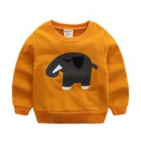 ingrosso vestiti svegli del bambino dell'elefante-Felpe per bambini Cute Elephant T-shirt a maniche lunghe Primavera Autunno Giacca per bambini Vestiti per bambini Sweatshot per ragazzo