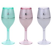 Wholesale cup mini humidifier - Hot Sale Air Humidifier Red Wine Cup USB Colorful Night Lamp No Noise Mini Portable Air Cleaner for Home Bathing Accessory Set