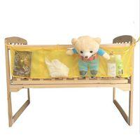 fabric toy storage Canada - Wholesale- Folding Baby Crib Mesh Toy Diaper Storage Bag Net Diaper Baskets Children Bed Hanging Toy Storage Bags Doll Organizer EJ873044