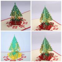 tarjetas de navidad hechas a mano al por mayor-Tarjetas de felicitación de navidad 3d hecho a mano pop-up tarjetas de felicitación regalo de Navidad hecho a mano 3D Tarjeta de papelería Retro Perforado Post Tarjetas de Regalo GGA1182