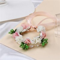 demoiselles d'honneur vente de fleurs achat en gros de-Fournitures de mariage Bridal Wrist Band Corsage Romantique Fleur De Main Demoiselle D'honneur Artifical Fleurs Rouge Bleu Chaud Vente 3 5yw Ww