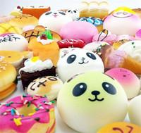 Wholesale rilakkuma big - 2018 Kawaii Squishy Rilakkuma Donut Soft Squishies Cute Phone Straps Bag Charms Slow Rising Squishies Jumbo Buns Phone Charms Free DHL