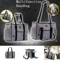 Wholesale dog handbags carriers resale online - Breathable Striped Pet Dog Carrier Bag Portable Canvas Casual Carrying Handbag Cat Animals Travel Shoulder Bags AAA746