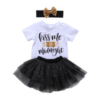 Wholesale Lace Ruffle Girls Dress Headband - New Baby Girl Princess Tutu Dress Boutique girls set T-shirt+Skirt+Headband Outfit Baby Girl Clothes Lovely Kids Clothing