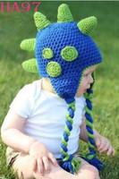 bebek bez şapkaları desenleri toptan satış-Noel Hediyesi Dinozor Desen Çocuklar Karikatür Hayvan Şapka Kap Yenidoğan Bebek Yürüyor Baby Boy Kız Kış Şapkalar Çocuk Dino Beanie Pamuk