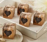 caixas de decorações de casamento venda por atacado-100 pcs Popular Caixa De Presente De Casamento Rústico Kraft Caixa Favor e Decoração Do Partido Presente para o Partido Caixa Favor