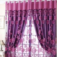 panneau en tulle transparent achat en gros de-Semi Shade Sheer Rich Fleurs Motif Rideaux Avec Tulle Voile Porte Fenêtre Rideau Drapé Panneau Nouveau