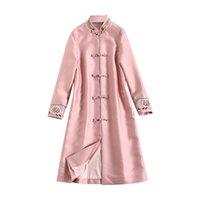 ingrosso trincea delle donne cinesi-Trench coat da donna in stile cinese 2018 Autunno elegante ricamo rosa X-lungo vento cappotto