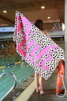 Wholesale fitness pools - Pink Letter Beach Towel 147*71cm Fitness Outdoor Sports Swimming Pool Towel Bath Towel Leopard Flower Swimwear Bathroom Towels Fast Shipping