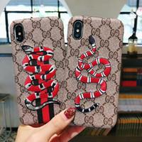 logo de la moda iphone al por mayor-Serpiente bordado Funda para teléfono inteligente para iPhone X 8 7 6 Plus Carcasa trasera de piel cubierta con logotipo en inglés Logo para IPhoneX XS Max XR