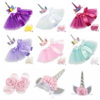 Wholesale Wholesale Baby Barefoot Headband Sets - baby Outfit Tutu Skirt dress with unicorn Headband flower Barefoot Sandals Set Photography Props 100 days Birthday Party Costume KKA4996