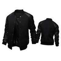 baseball-sweatshirts schwarz groihandel-Neuer Trend Schwarz College-Baseball-Jacke Männer / Junge Veste Homme beiläufige PU-Leder-Sleeve Herren Sweatshirt Varsity Jacken für den Herbst