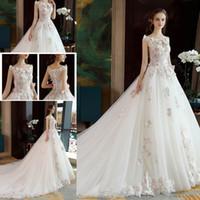modelos de vestidos sexy venda por atacado-Modelos mais recentes 2018 mangas de renda vestidos de noiva apliques vestido de baile sexy trem tribunal vestidos de noiva