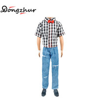Wholesale coat tie for men - 1set Boy Doll Clothes Black And White Plaid Shirt Jeans Bow Tie Toys Men KEN Doll Accessories Clothing For Dolls ingbaby LMY1276