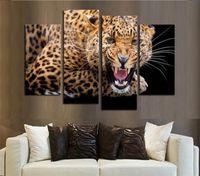 Wholesale porch decor resale online - High Quality Restaurant Living Room Porch Spray Painting Oil Paintings Quadruple Leopard Home Decor Wall Art nj gg