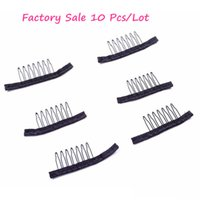 Wholesale hair accessories for wigs - Black color wire wig combs plastic clips convenient for hair full lace wigs cap accessories styling tools