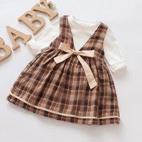 yeni doğmuş elbiseler toptan satış-Bebek Elbise Pamuk Elbise 1 Yaşındaki Bebek Kız Sonbahar Yeni Doğan Kız Giysileri Uzun Kollu Bebek Prenses Çiçek